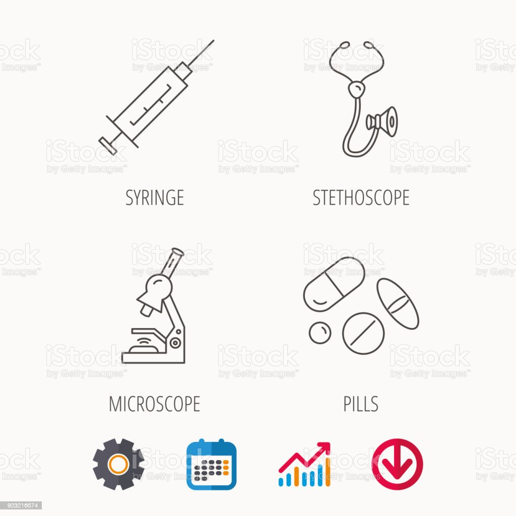 Syringe stethoscope and microscope icons stock vector art more syringe stethoscope and microscope icons royalty free syringe stethoscope and microscope icons stock ccuart Gallery