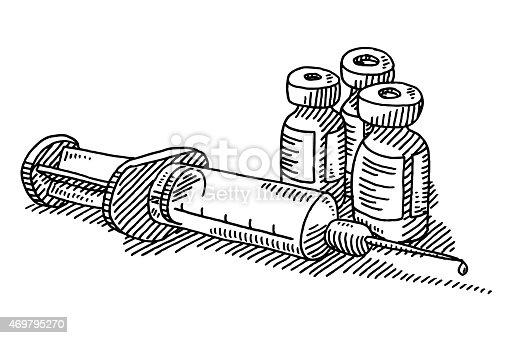 Syringe Vaccination Medicine Drawing