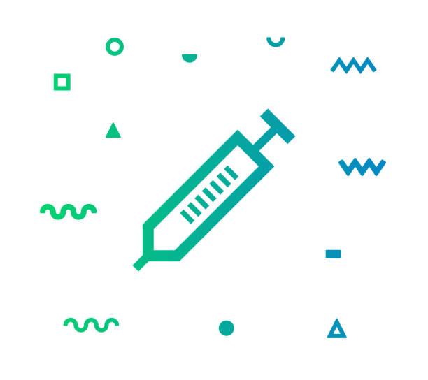 illustrazioni stock, clip art, cartoni animati e icone di tendenza di syringe vector icon line illustration - dose
