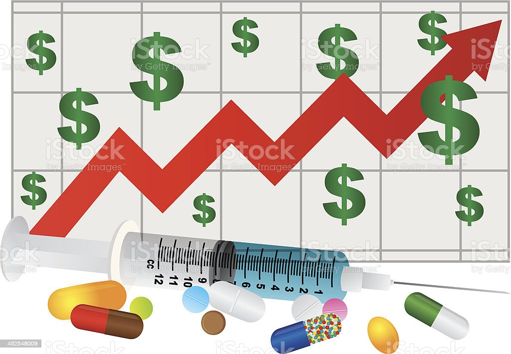 Syringe with Medication Drugs Pills and Chart Vector Illustration vector art illustration