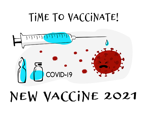 """Syringe with vaccine on white background and the slogan """"Time to vaccinate against covid 19""""."""