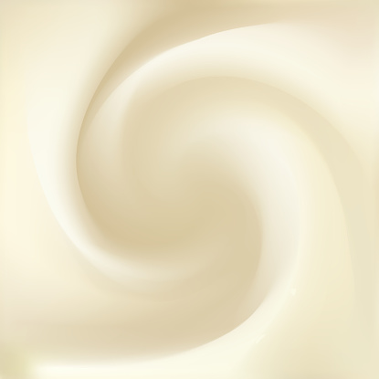 Syrup, mayonnaise, yogurt, ice cream, condensed milk, whipped cream or fluid cheese with space for text. Whirl light beige eddy surface. Close up view. Gradient mesh background