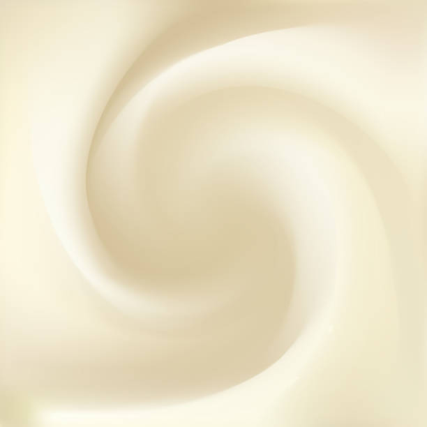 Syrup, mayonnaise, yogurt, ice cream, condensed milk, whipped cream or fluid cheese with space for text. Whirl light beige eddy surface. Close up view. Gradient mesh background vector art illustration