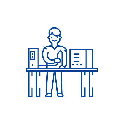 System administrator line icon concept. System administrator flat  vector symbol, sign, outline illustration.