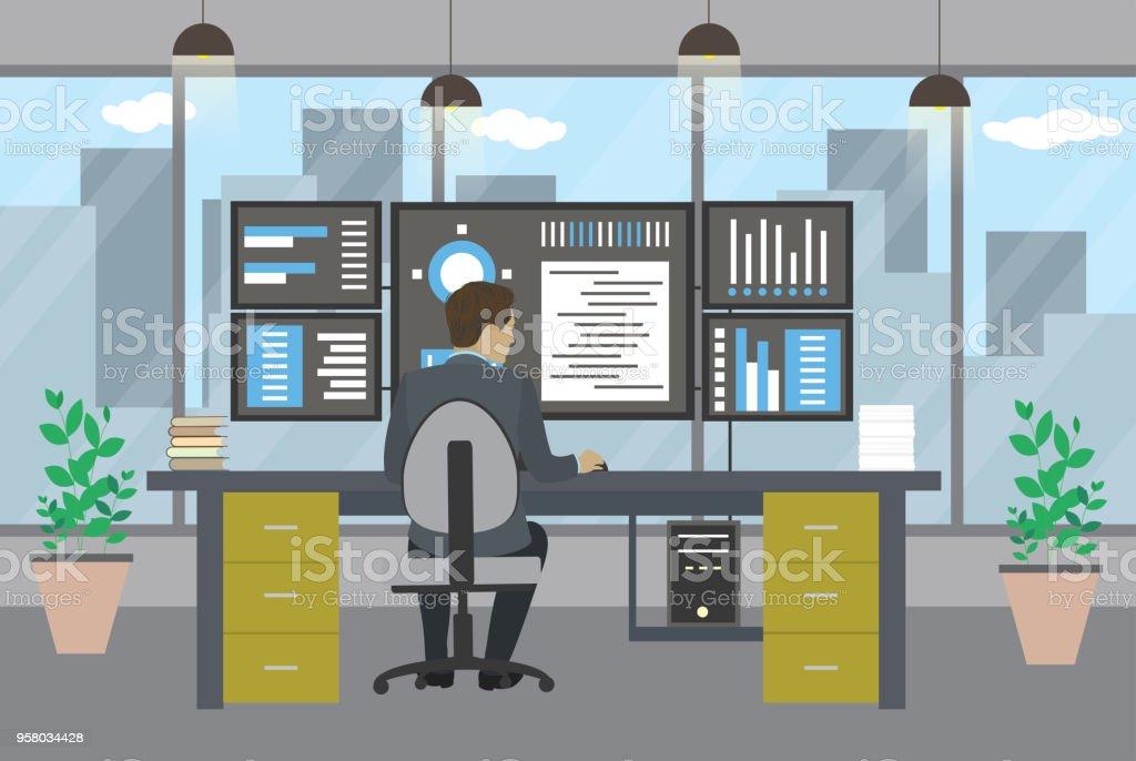 Administrateur système travaillant dans les bureaux modernes