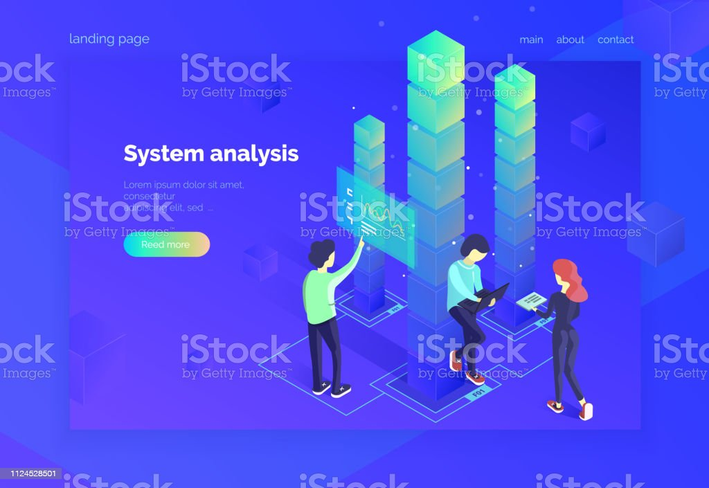 System Analysis A Group Of People Interact With The Data System And Receive Statistical Information Teamwork Landing Page For Web Modern Vector Illustration Isometric Style Ultraviolet Stock Illustration Download Image Now
