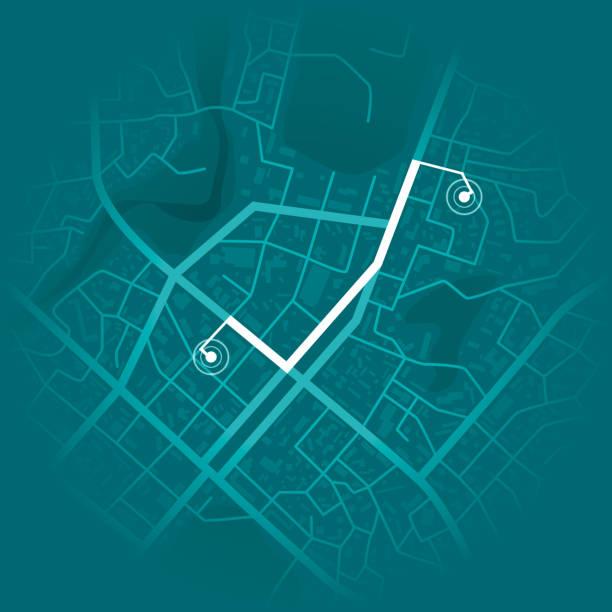 gps-system-konzept. blaue stadtplan mit route-marker. vektor-illustration - karte navigationsinstrument stock-grafiken, -clipart, -cartoons und -symbole