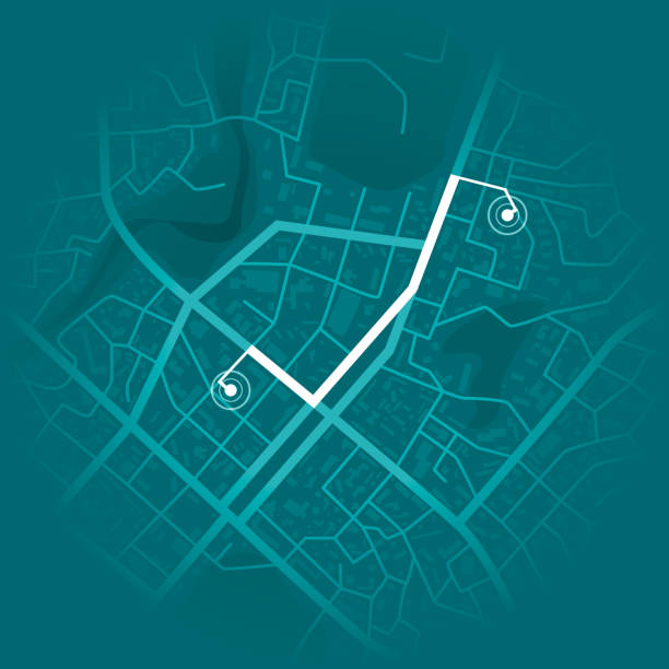 gps system concept. blue city map with route markers. vector illustration - wyposażenie do nawigacji stock illustrations