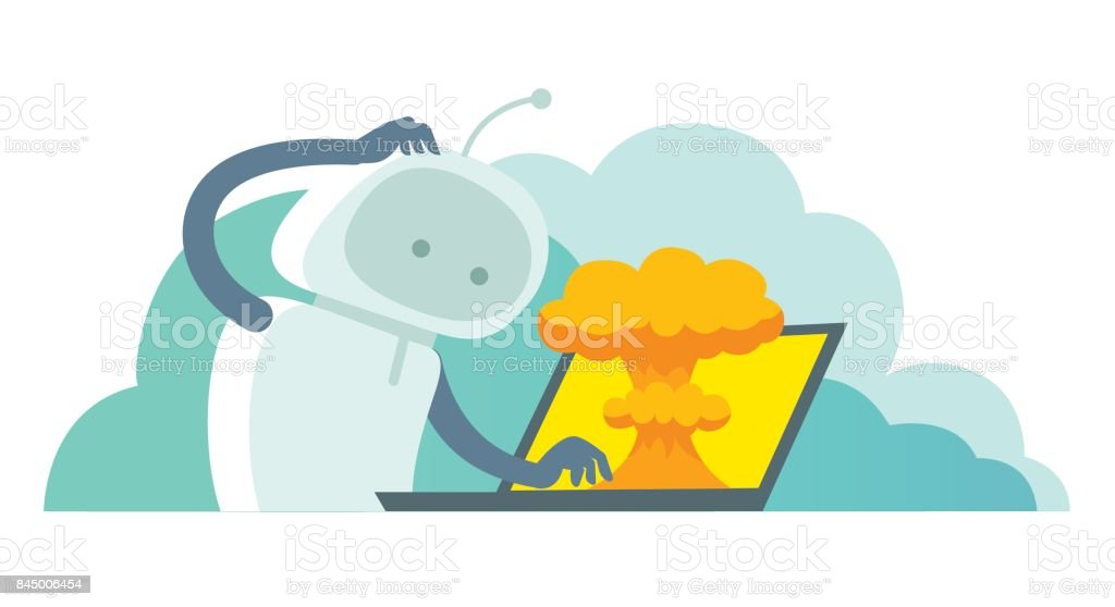 System error in laptop epic fail. Atomic bomb explosion nuclear, robot and bug in the computer vector art illustration