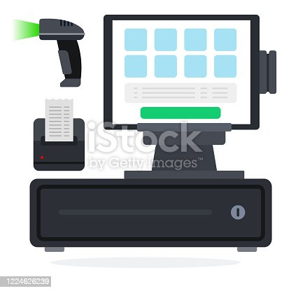 istock POS system flat icon vector isolated 1224626239