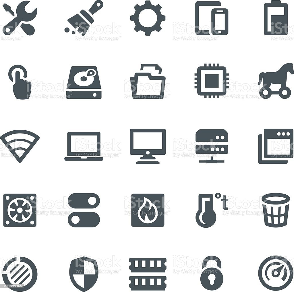 System Maintenance Icons vector art illustration