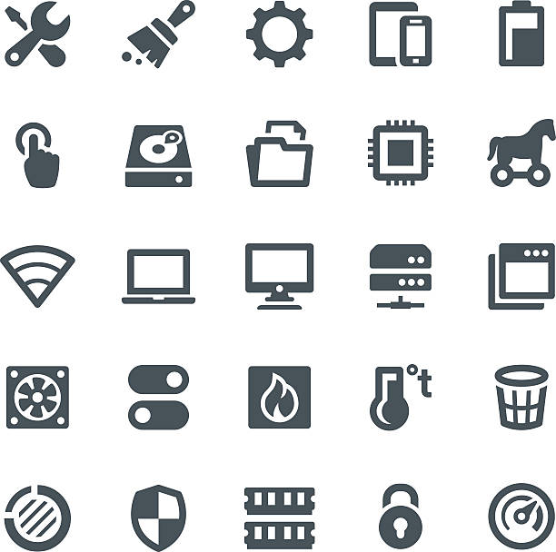 system maintenance icons - cpu stock illustrations