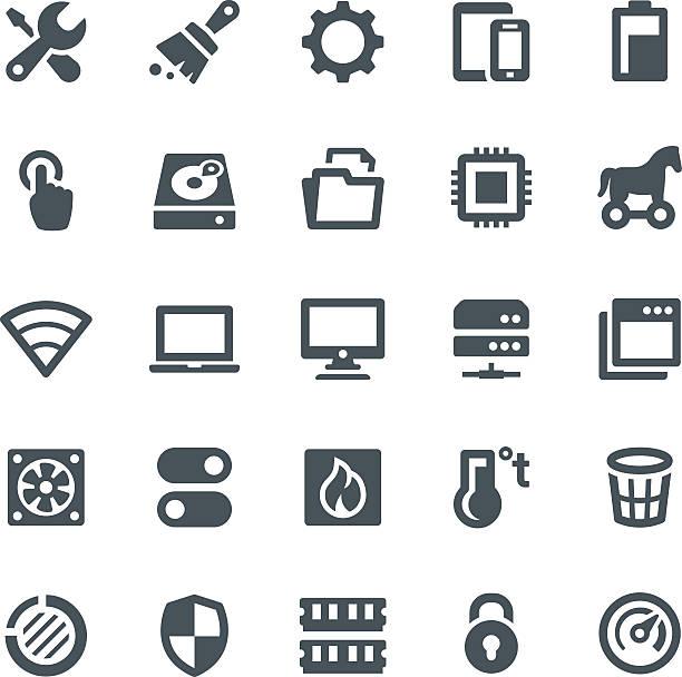 system maintenance icons - bilgisayar yongası stock illustrations