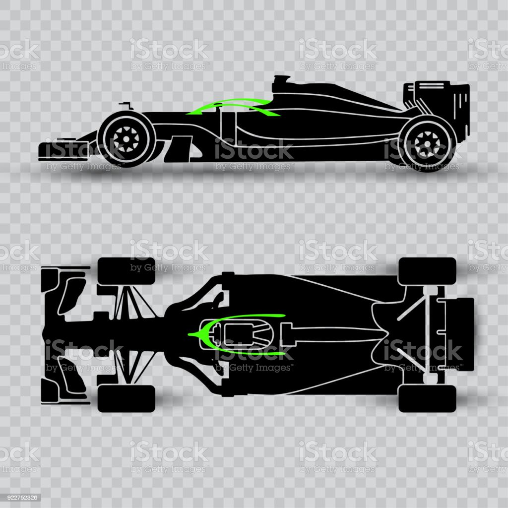 System Of Pilot Defense Of A Sports Car Dark Silhouette Of A Racing