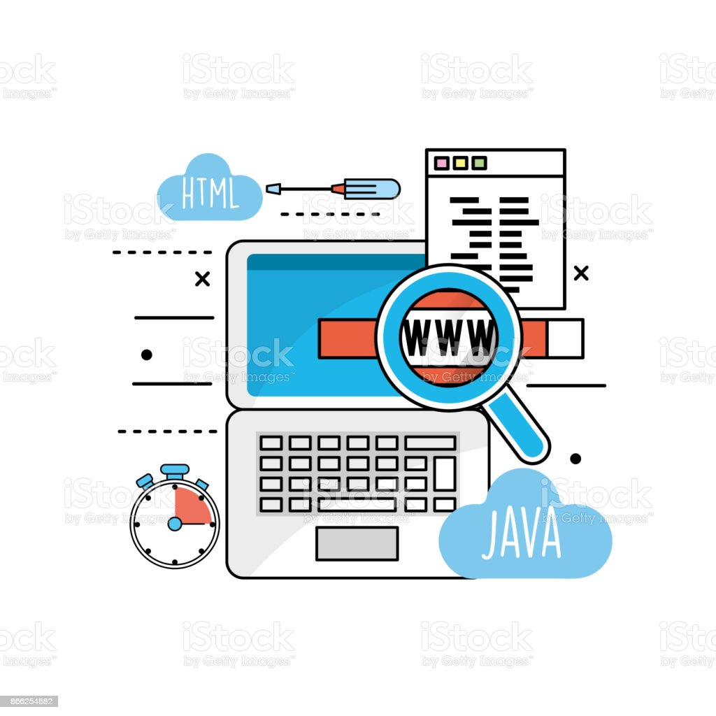 system programming technology with website code vector art illustration