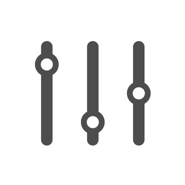ilustrações, clipart, desenhos animados e ícones de o sistema ajusta desliza o ícone do vetor da silhueta isolado no fundo branco. configurações deslizantes ícone plano para web, aplicativos móveis e design de interface do usuário - deslize