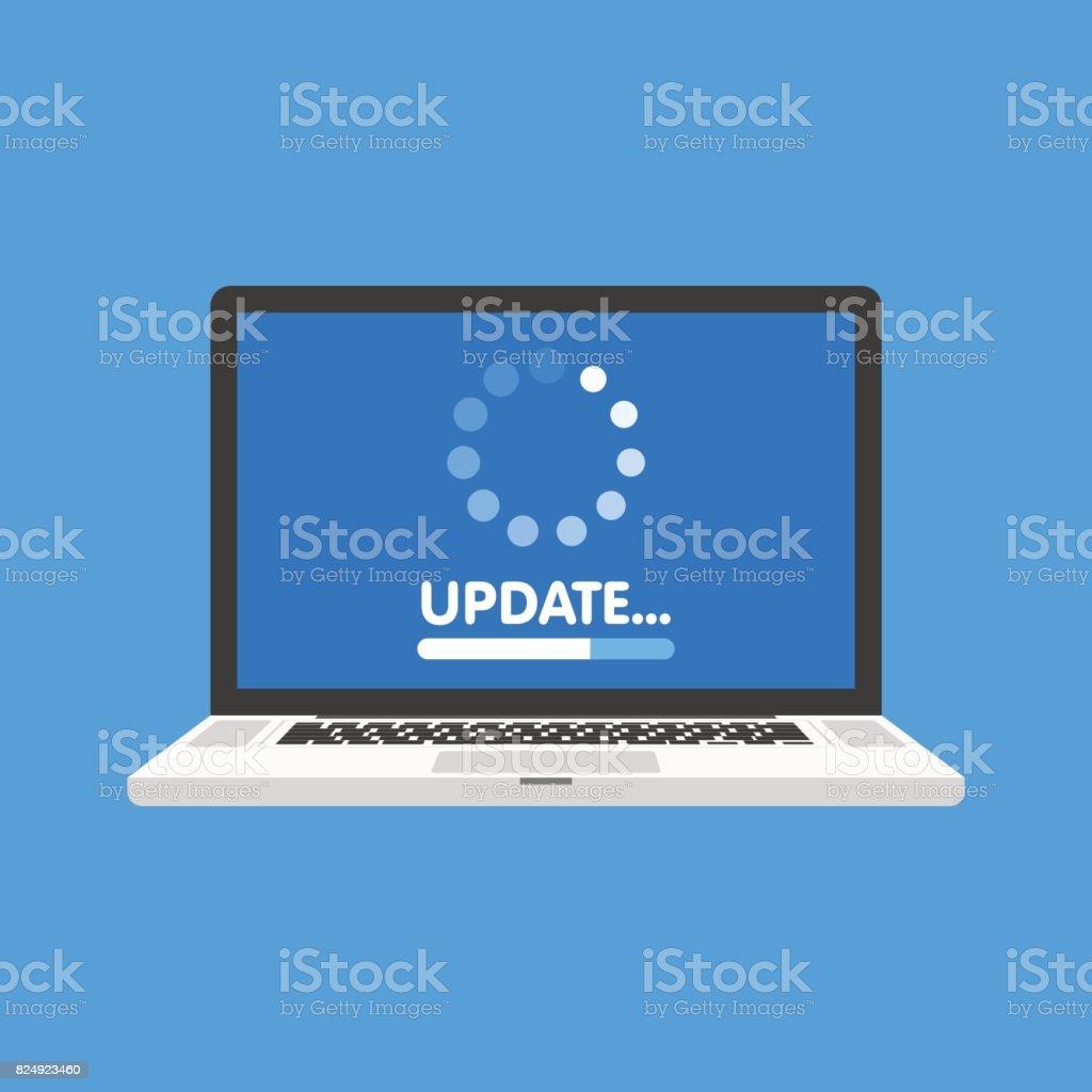 Actualización de software del sistema y el concepto de actualización. Proceso de carga en la pantalla del ordenador portátil. Ilustración de vector - arte vectorial de Actualización de software libre de derechos