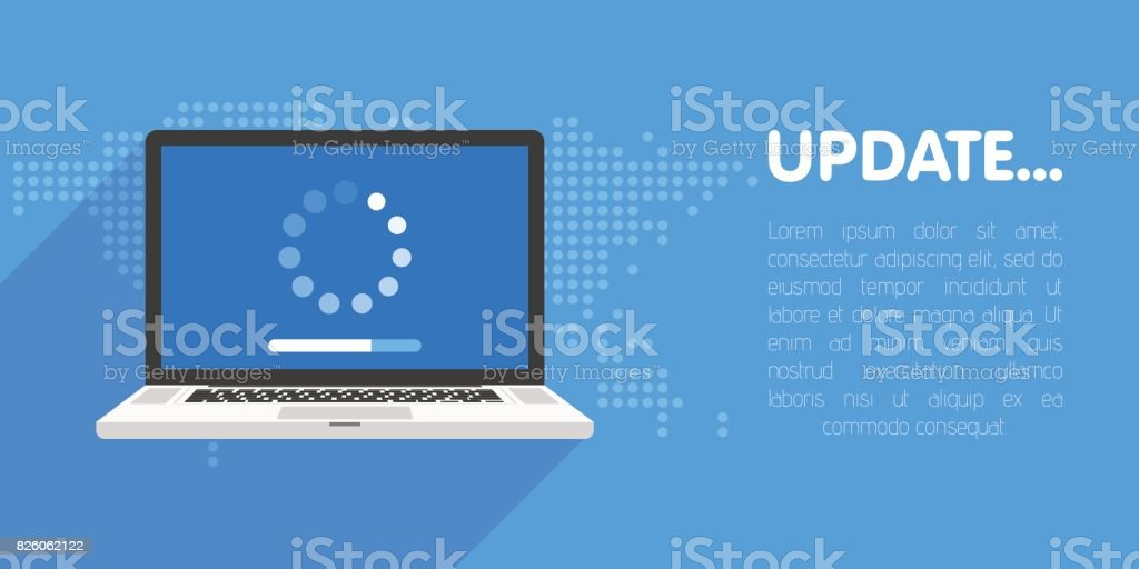 System software update and upgrade concept. Loading process in laptop screen. Vector illustration vector art illustration
