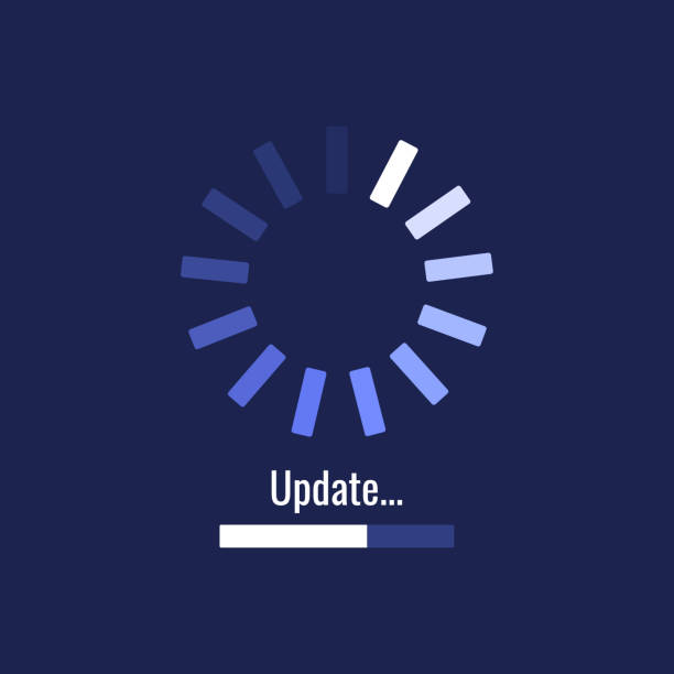 System software update and upgrade concept. Loading process screen. Modern vector illustration flat style System software update and upgrade concept. Loading process screen. Modern vector illustration flat style. update communication stock illustrations
