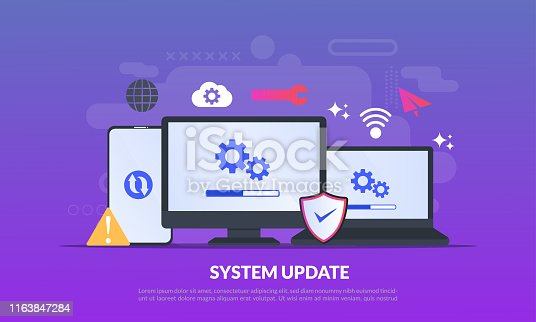System Update Improvement Change New Version software. Installing update process, upgrade program, data network installation, flat icon,suitable for web landing page, banner, vector template