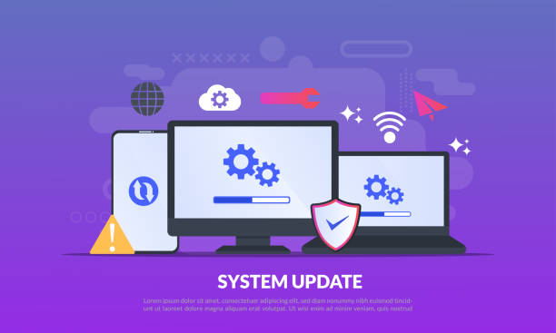 System Update Improvement Change New Version software. Installing update process, upgrade program, data network installation, flat icon,suitable for web landing page, banner, vector template System Update Improvement Change New Version software. Installing update process, upgrade program, data network installation, flat icon,suitable for web landing page, banner, vector template update communication stock illustrations