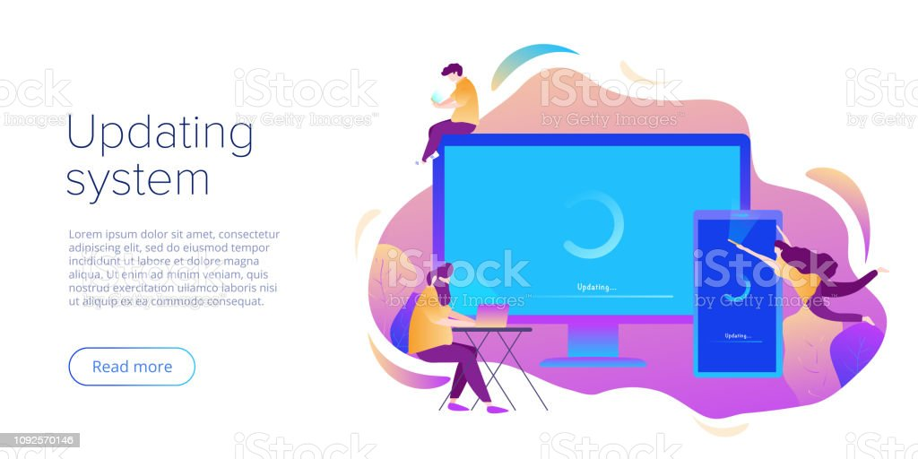 System Update Or Software Installation Concept In Flat Vector Design Creative Illustration For Computer And Smartphone Upgrade Or Maintenance Website Landing Page Layout Or Webpage Template Stock Illustration Download Image Now