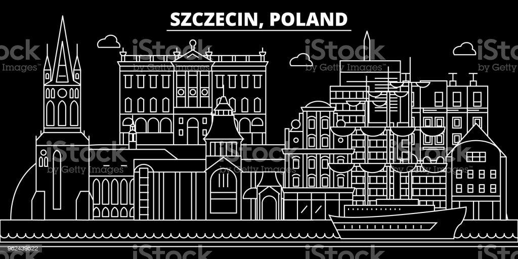 Szczecin silhouette skyline. Poland - Szczecin vector city, polish linear architecture, buildings. Szczecin travel illustration, outline landmarks. Poland flat icon, polish line banner