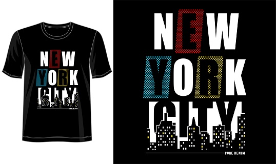 t shirt design graphic, vector, illustration new york city lettering typography