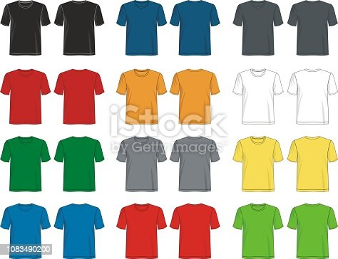 istock t shirt template collection 1083490200