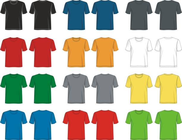 stockillustraties, clipart, cartoons en iconen met t shirt sjabloon collectie - hemden en shirts