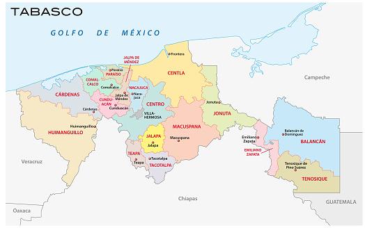 타바스코 행정 정치 및 자치 제 지도 0명에 대한 스톡 벡터 아트 및 기타 이미지