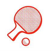 Tabble tennis racket with ball icon, ping pong sign vector illustration isolated on white background