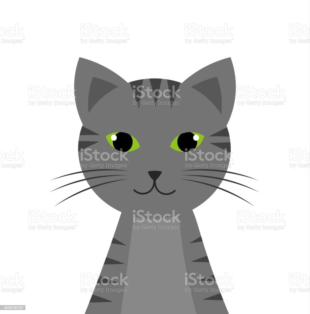 Tabby cat portrait vector art illustration