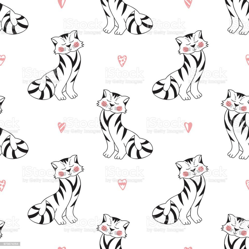 Ilustración de Gatos Tabby Vector De Patrones Sin Fisuras Fondo Para ...