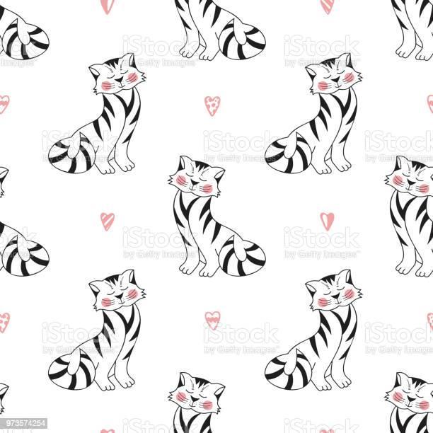 Tabby cats vector seamless pattern background for kids with hand vector id973574254?b=1&k=6&m=973574254&s=612x612&h=jyhinpzllh2wp9rrffay9p7jmzmqsewelj 0iydhp a=