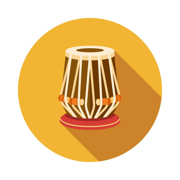 Tabla Flat Design India Icon with Side Shadow A colored flat design India icon with a long side shadow. Color swatches are global so it's easy to edit and change the colors. tavla stock illustrations