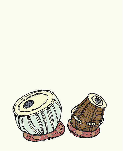 Tabla Indian Drums. A clean editable vector EPS file format, and a high res JPEG. tavla stock illustrations