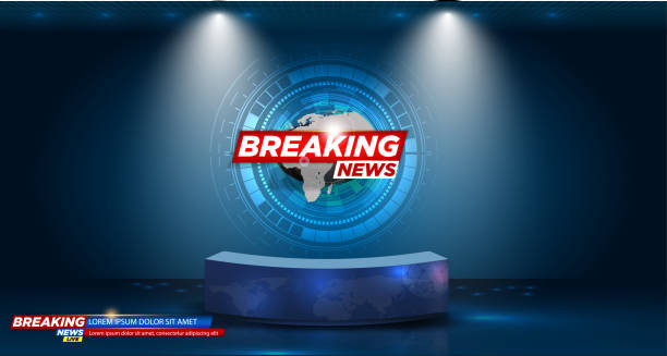 illustrazioni stock, clip art, cartoni animati e icone di tendenza di table and breaking news banner background in the news studio . vector illustration - newspaper paper