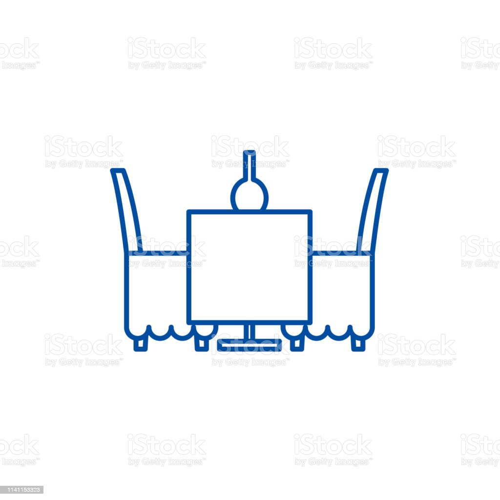 Table and chairs in the restaurant line icon concept. Table and chairs in the restaurant flat  vector symbol, sign, outline illustration.