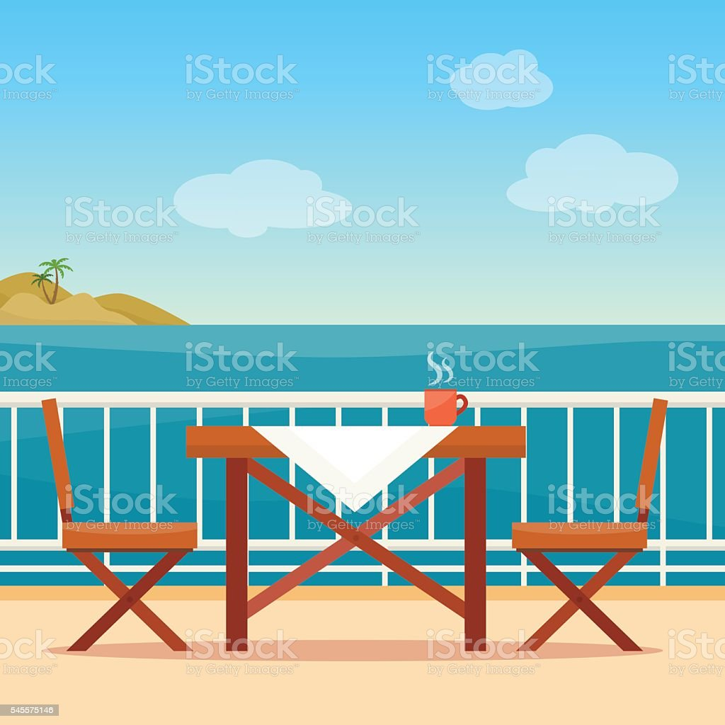 Table and chairs on the balcony vector art illustration