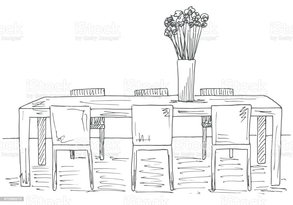 Bord Och Stolar På Den Tabell Vas Med Blommor Vektorillustration Handritad vektorgrafik och fler bilder på Arbeta