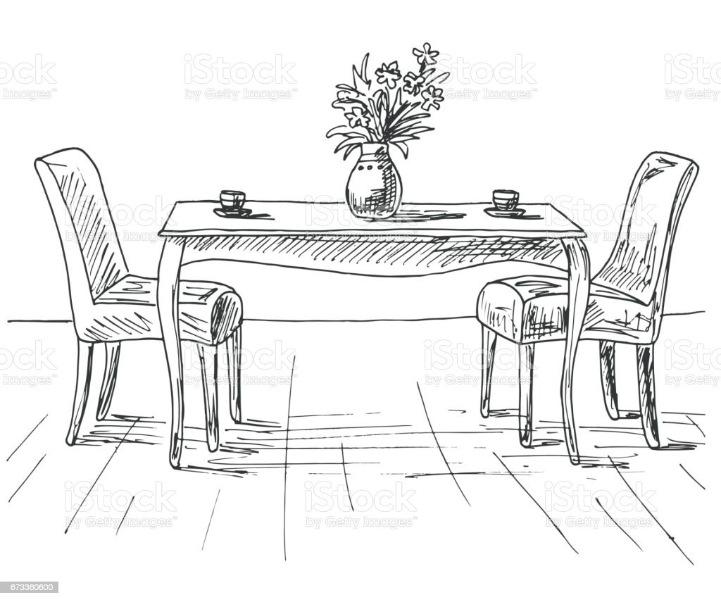 Table And Chairs On The Table Vase Of Flowers Vector