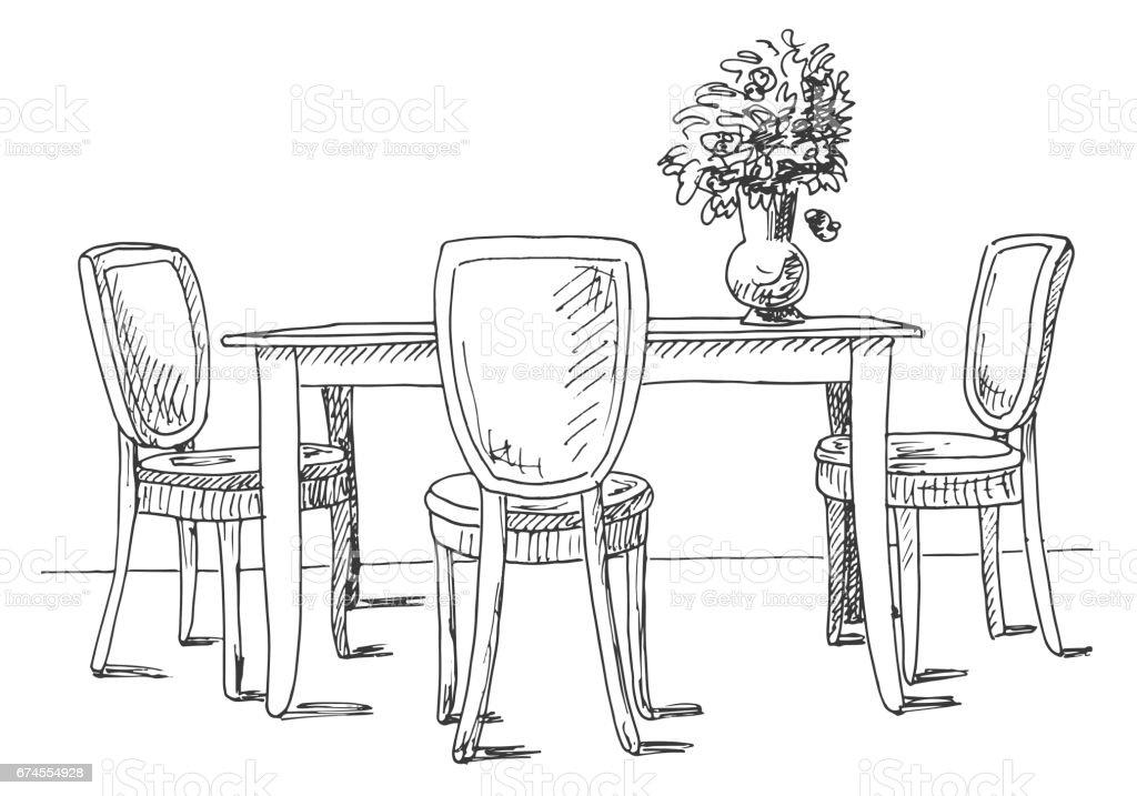 Tisch Und Stühle Auf Dem Tisch Vase Mit Blumen Vektorillustration