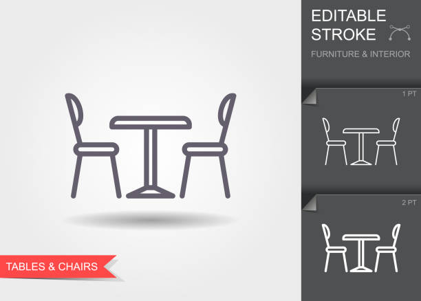 ilustrações de stock, clip art, desenhos animados e ícones de table and chairs. outline icon with editable stroke. linear symbol of the furniture and interior with shadow - table