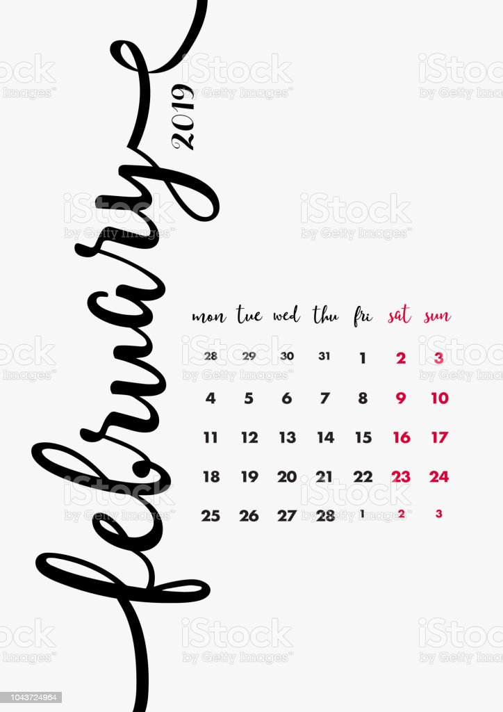 February 2019 Calligraphy Calendar 2019 Table Calendar Design 12 Months Desk Diary February 2019 Page