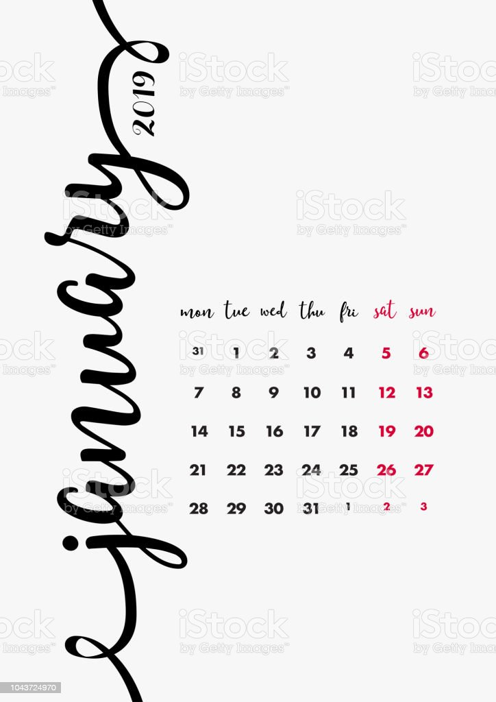 2019 Table Calendar Design 12 Months Desk Diary January 2019 Page 1