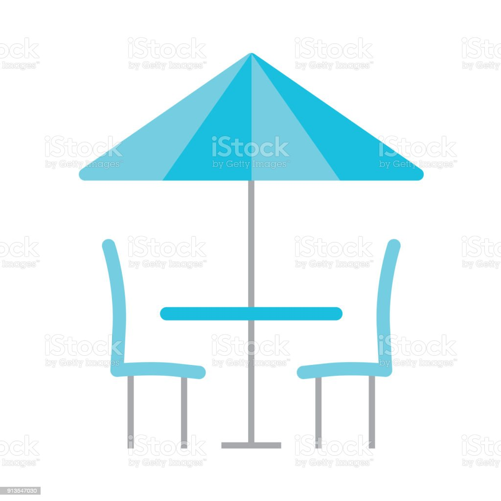 table, chairs and umbrella icon
