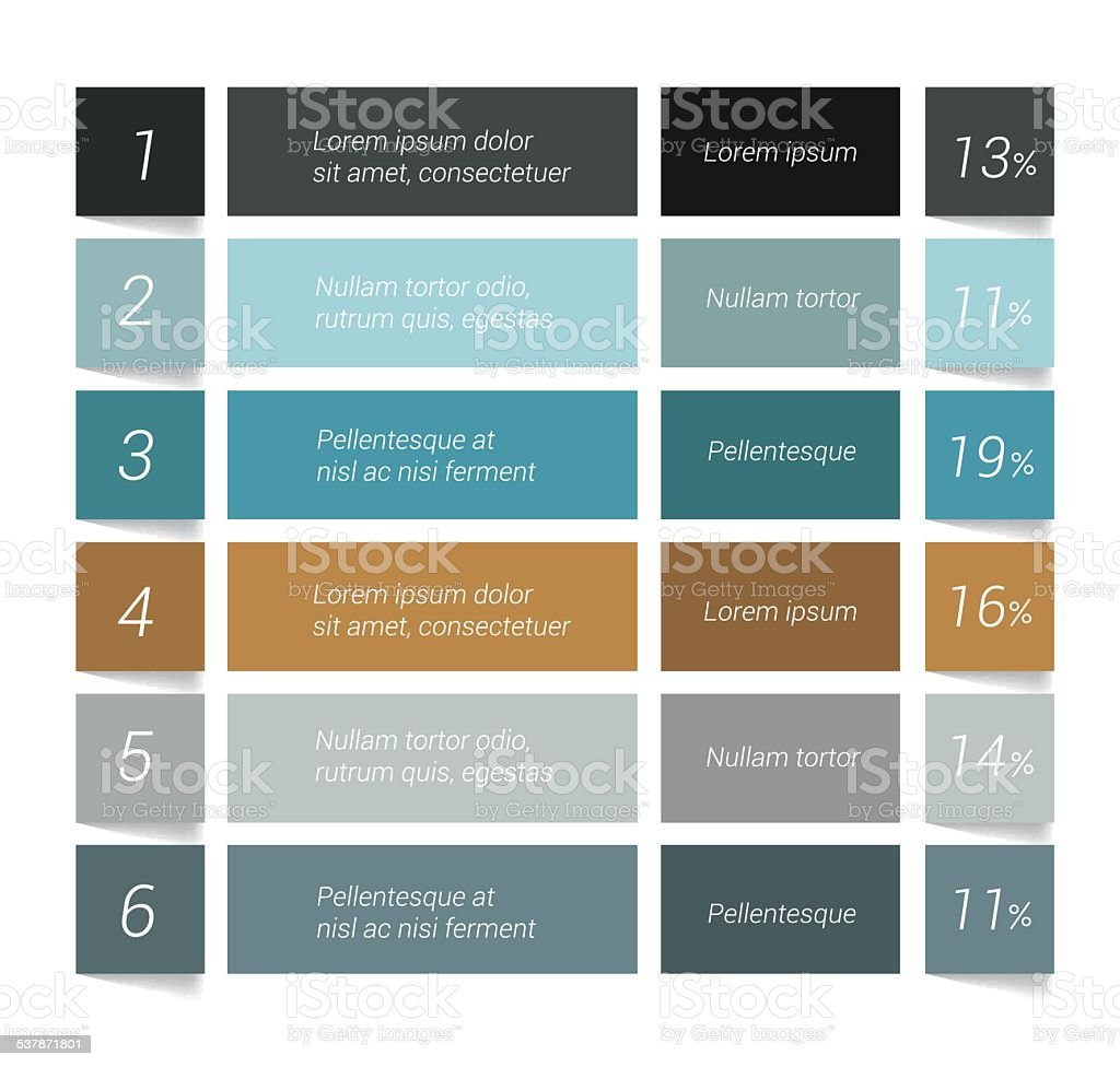 Table, chart, schedule. Infographics elements. vector art illustration