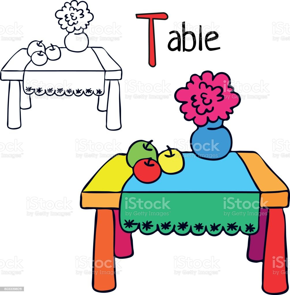Table Coloring Book Page Cartoon Vector Illustration Stock Vector ...