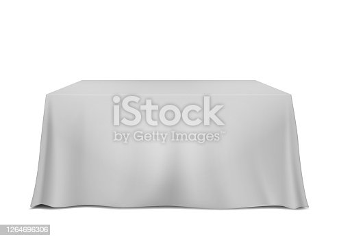 istock Table covered with blank tablecloth isolated on white background, vector template 1264696306